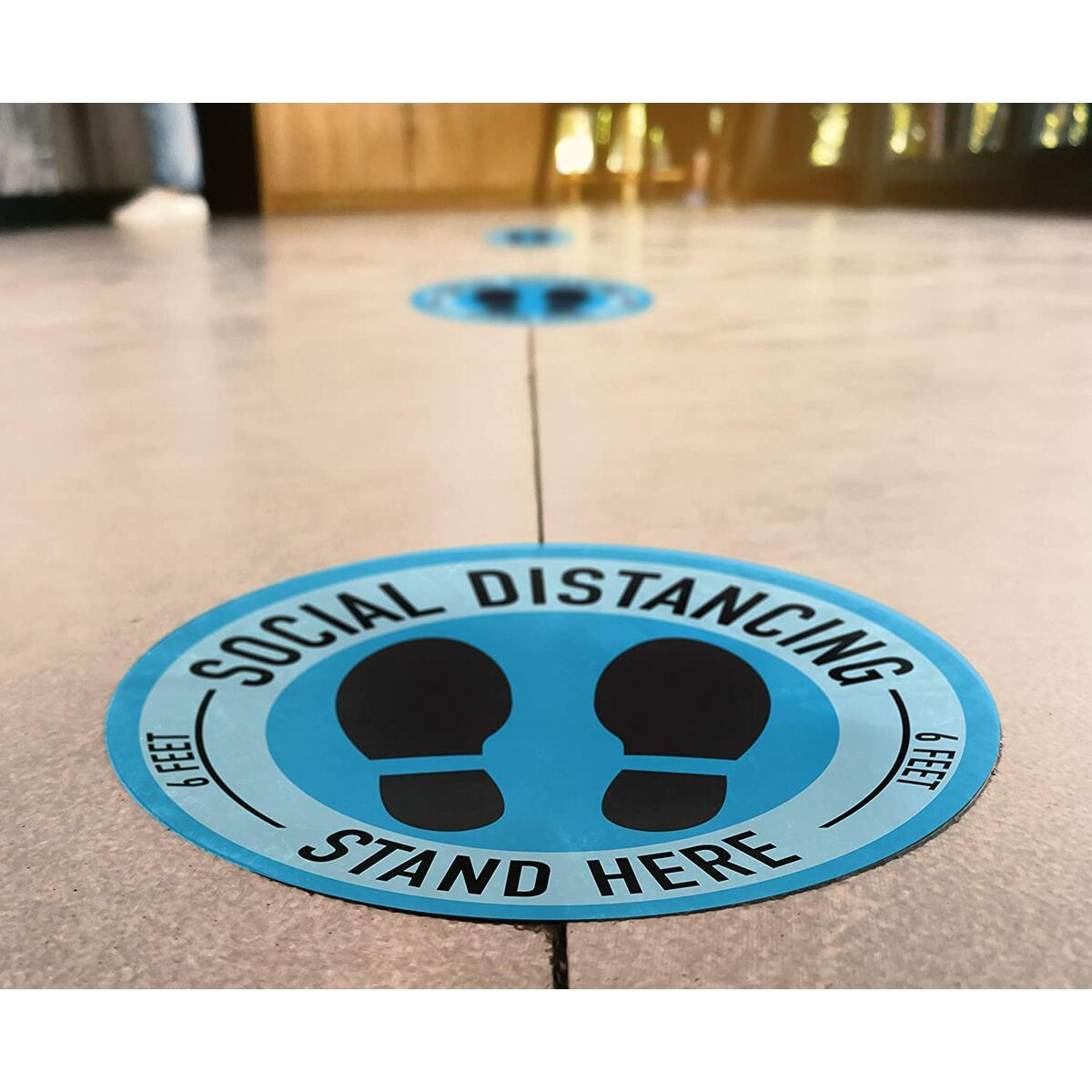 SylkyClover Social Distancing Floor Decals - 11'' (5) Pack   6 Feet Apart Sticker, Social Distancing Sign, Social Distance Floor Stickers, Social Distancing Floor Stickers, Social Distancing Stickers