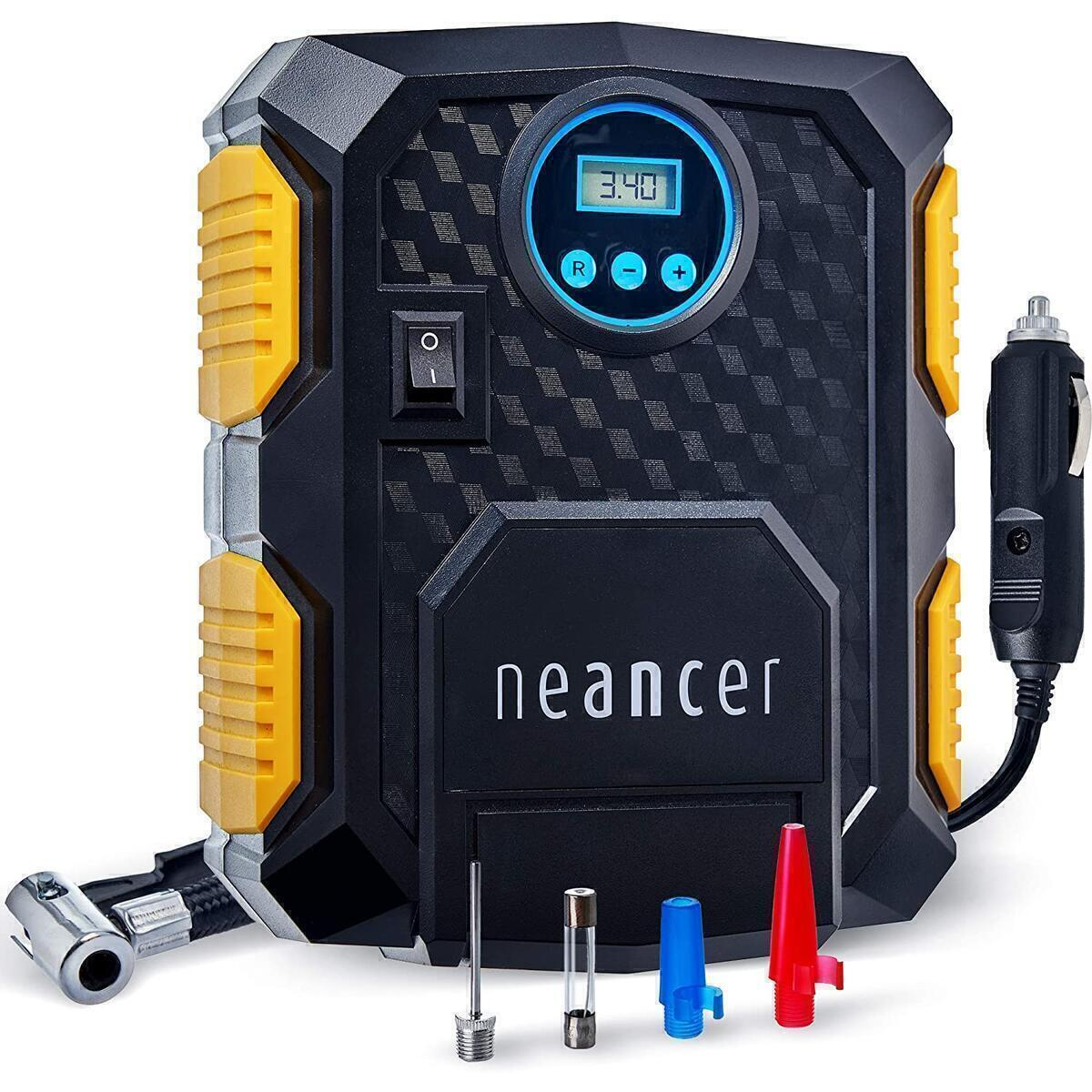 Neancer Digital Tire Inflator with Gauge, Mini Electric Air Pump - Portable Air Compressor for Car Tires, 12V – Small Air Compressor Machine for Inflating Automobile, Blow Up Mattress, Bike Tires
