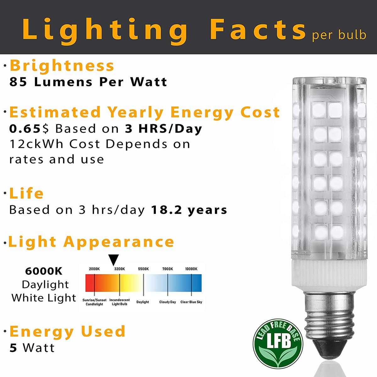 E11 LED Bulbs – 5W - 50W Halogen Replacement - Dimmable - Mini-Candelabra Base Light Bulb - Replaces T4 /T3 JDE11 – Day Light 6000K - for Ceiling Fans, Cabinet Lighting, Sconce & More- 6 Pack