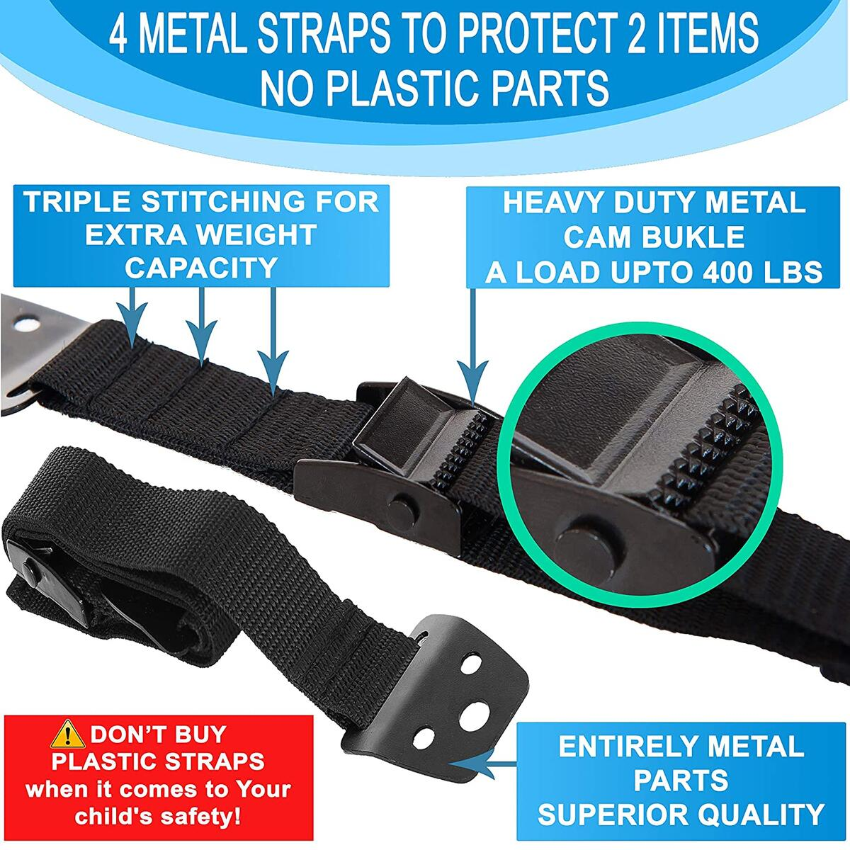 METAL Baby Proofing Furniture and TV Safety Straps, Eartquake Straps, 4 PACK + FREE GIFT