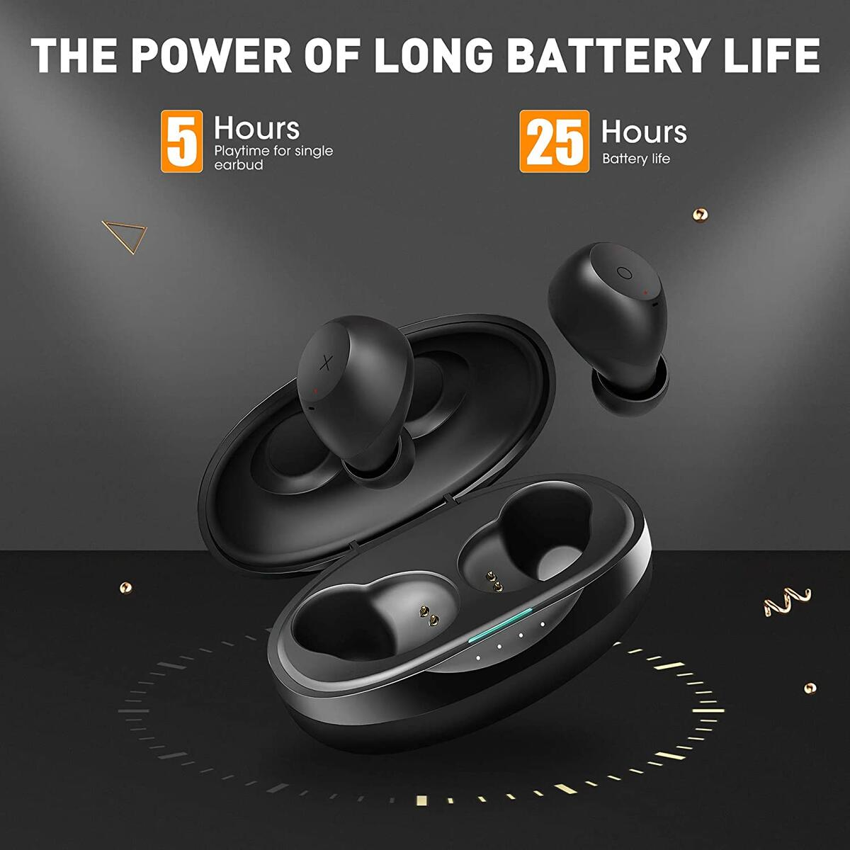 Wireless Earbuds with aptX Hi-Fi Deep Bass,CRUA IPX7 Waterproof Bluetooth Earbuds with Mic in Ear with 25H Playtime,Touch Control Hands-Free with Noise Cancellation Mic for iPhone, Andriod Black