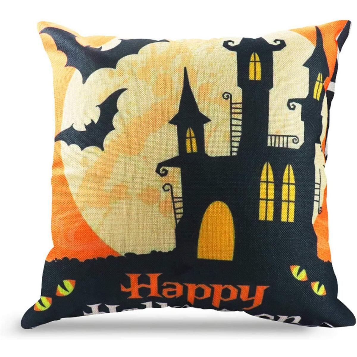 WEYON Happy Halloween Throw Pillow Covers 18 x 18 Inch Owl/Bat/Witch/Castle Theme Sofa Home Decorative Cotton Linen Cushion Covers Set of 4 m,Sold by CHUDAO
