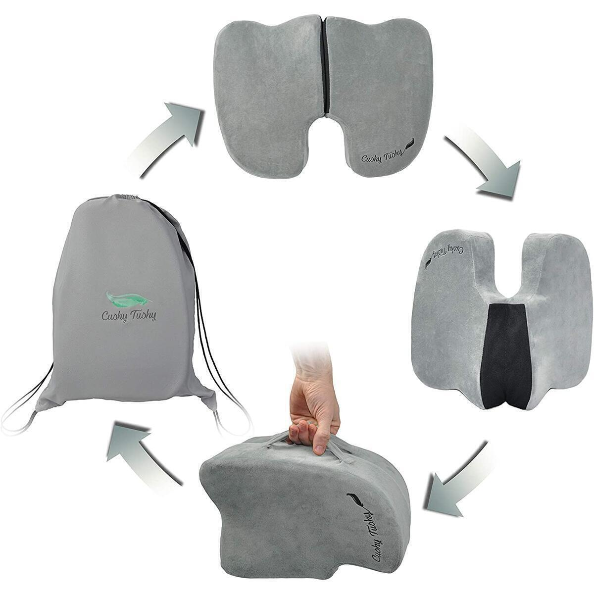 CushyTushy Foldable Coccyx Seat Cushion (Gray) - A Travel-Friendly Tail Bone Pain Relief Cushion for Home Use, Office Chairs, and Car Seats