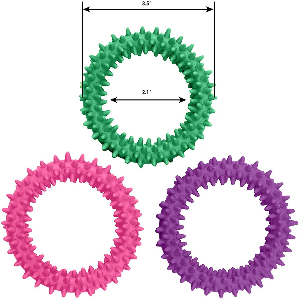 Sensory Ring and Fidget Toy 3 Pack Pink Purple Green | Soft, Flexible Ring and Rubber Spikes | Helps Reduce Stress and Anxiety| Promotes Focus and Clarity | Children, Youth, Adults Sensory Toys