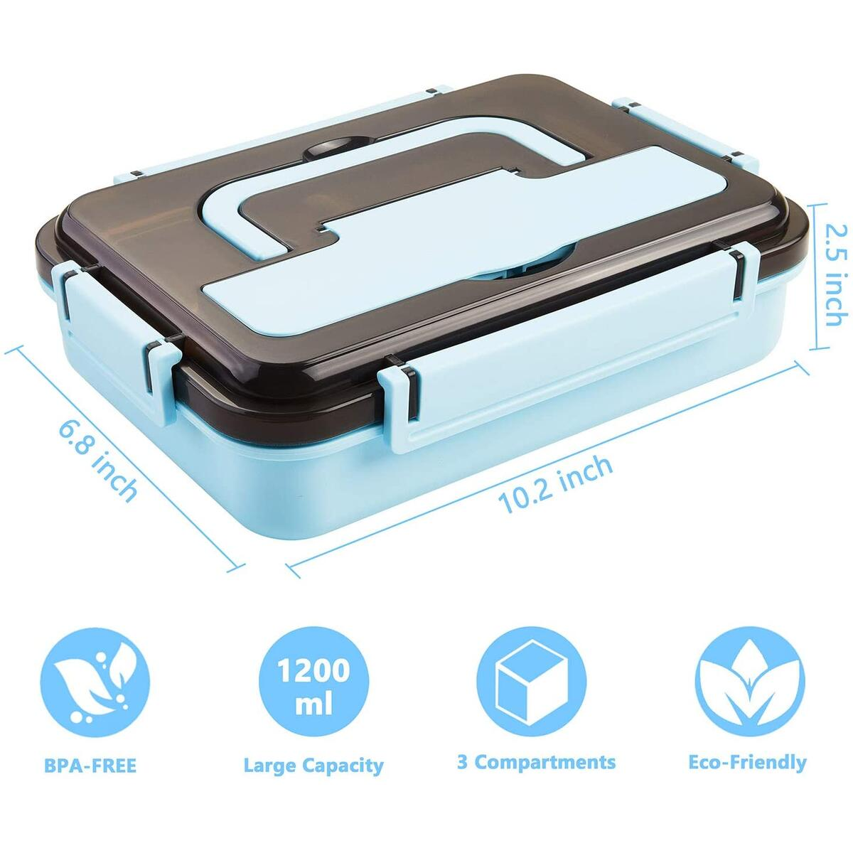 Stainless Steel Bento Lunch Box | Metal Lunch Container for Adults | 3 Compartments Portable Food Container with Utensil (Blue)