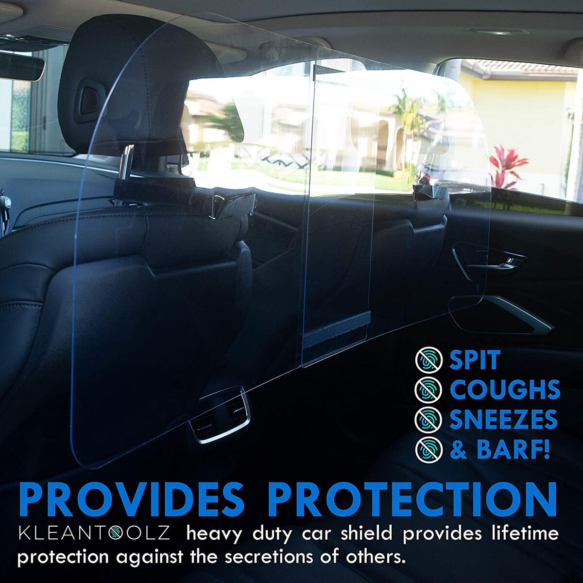 Kleantoolz Sneeze Guard Clear Acrylic Car Shield for Rideshare Services. Large PET Plexiglass Sheet with Microfiber Cleaning Cloth. Plastic Barrier and Germ Droplet Guard for Taxi, Lyft, Uber Driver.