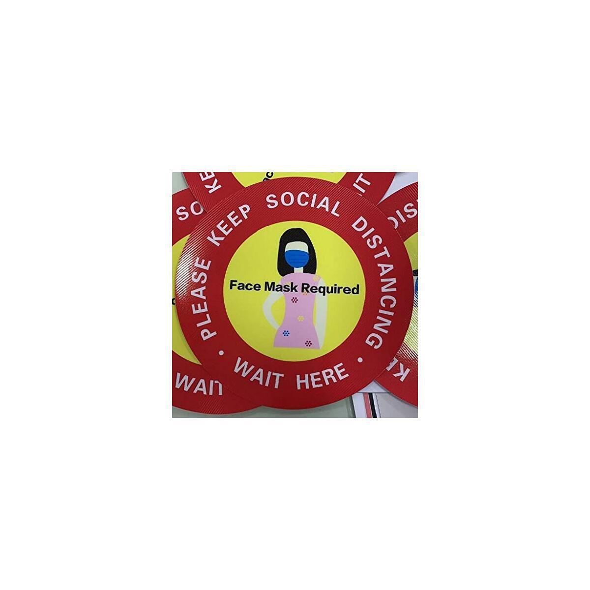 ROSEWARD Waterproof Twill Weave Anti-Slip Social Distancing Floor Decals Sticker Signs (12