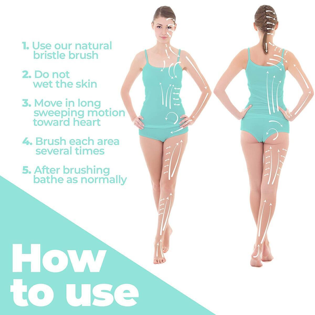 Dry Body Brush (100% Natural Bristle Brush), Reduce Cellulite - Dry Brush for Cellulite and Lymphatic Drainage, Exfoliating Brush With Soft Massage Nodules - Shower Brush Body Scrubber Skin Brush