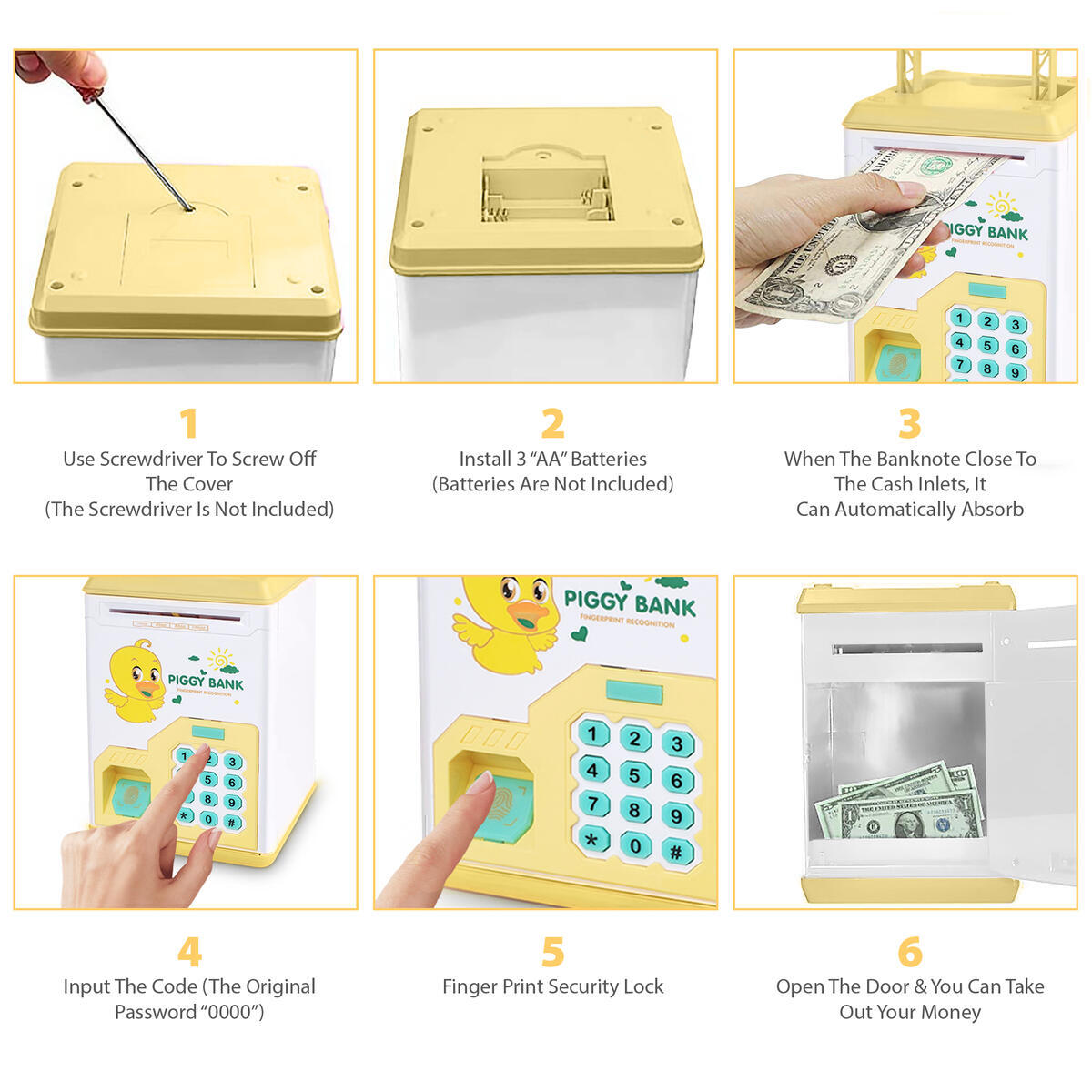 Buddy N Buddies Kids Money Safe Box ATM Safe Bank Fingerprint and Password Electronic Piggy Bank Cash Coin with Handle Yellow Duck