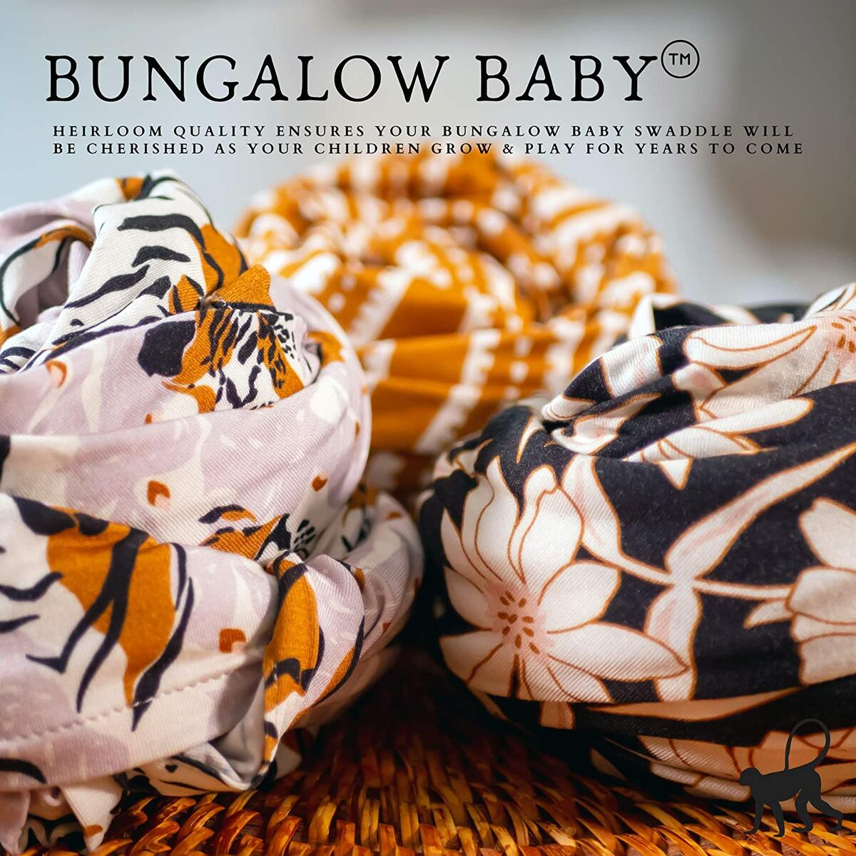 Bungalow Baby Swaddle Set - Premium Bamboo Viscose Baby Swaddle Blanket & Hat Set, Baby Boy, Baby Girl, Unisex, Newborn Swaddle, Baby Wrap, Bamboo Blanket, (Tiger Palm)