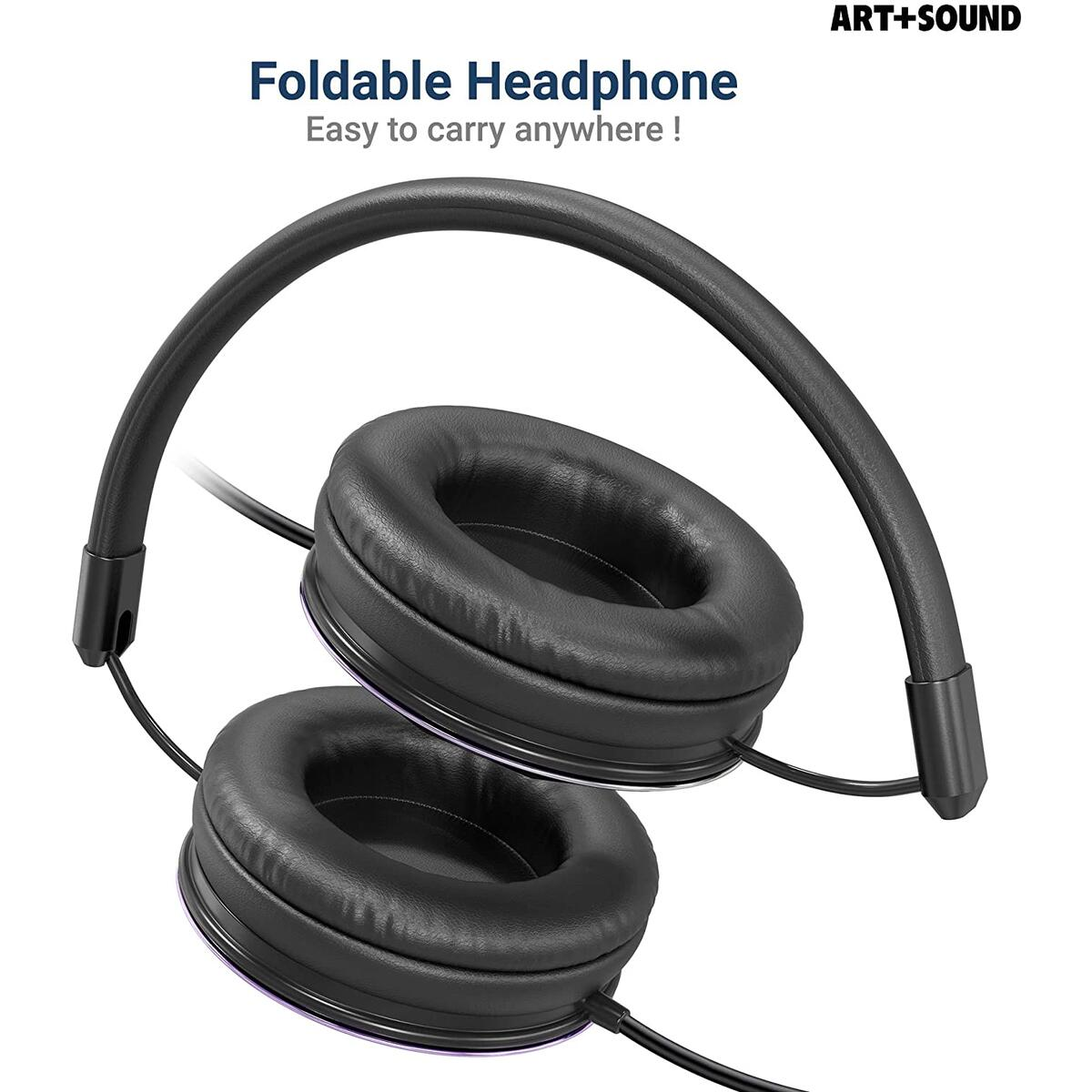 Wired Headphones by ART+SOUND, Faceted Design with Adjustable Band, Soft Cushion Pads, Foldable Design - Iridescent