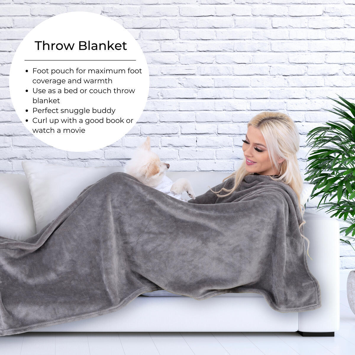 2 - In - 1 Travel and At-Home Blanket With Foot Pouch