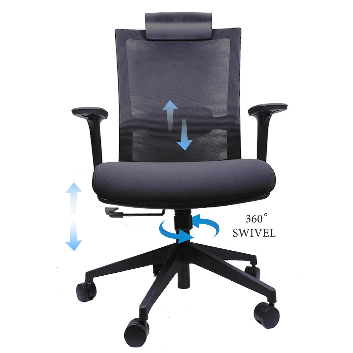Ergonomics Shield-Shape Backrest Office Chair with Lumbar Support and Adjustable Armrest