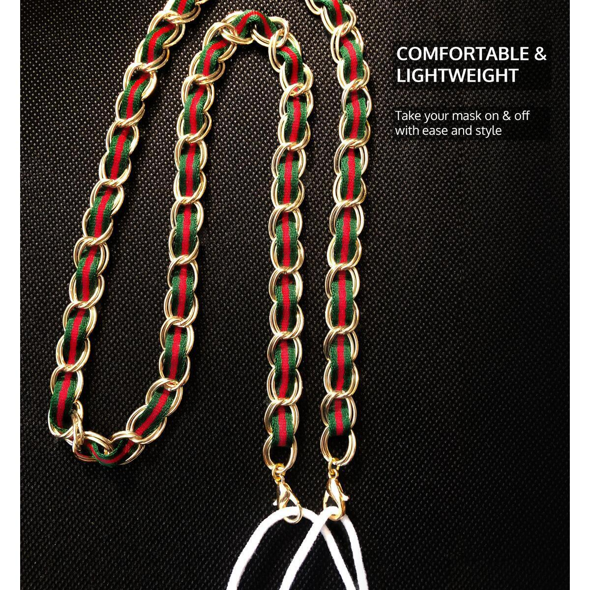 Mask Chain Necklace for Women (Green/red & Gold)