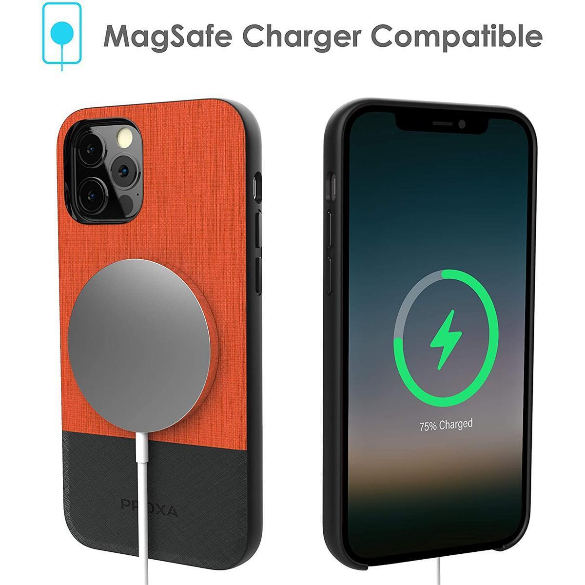 PROXA Case for iPhone 12 Pro Max 6.7 inch/MagSafe Charger Compatible - [Protective/Scratchproof] - Sunset Orange