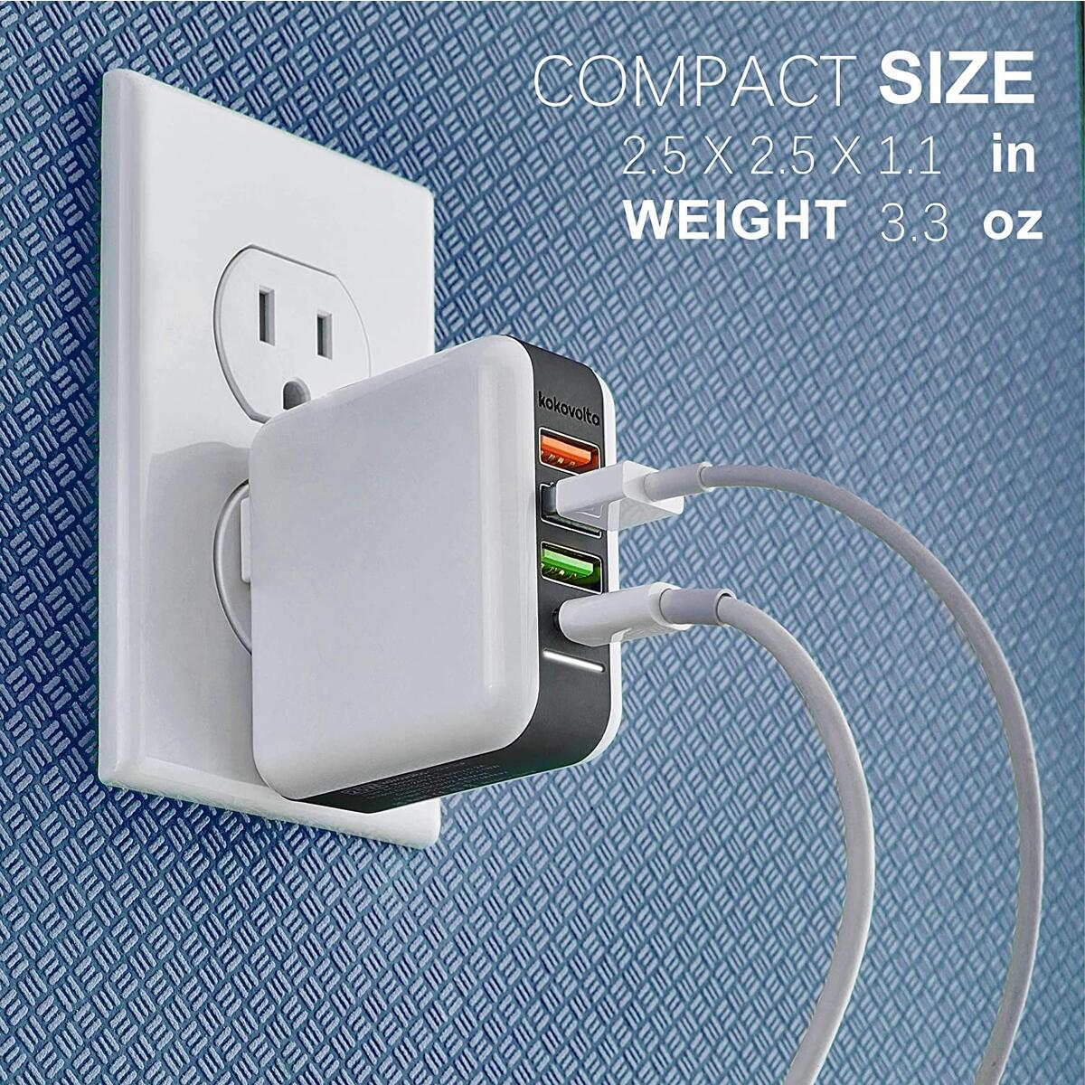 USB С Wall Charger - Quick Charge and Type-C Ports - Power Delivery Charger Plug Adapter for Smartphones - iPhones - Tablets and Other Mobile Devices
