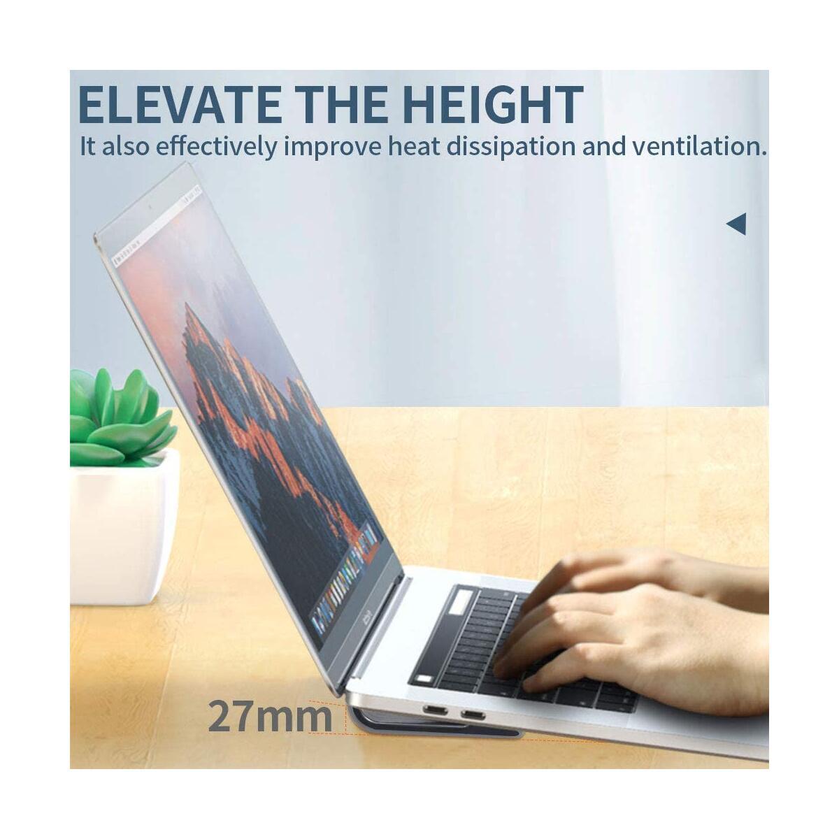 4 Pack Universal Laptop Stands, Portable Lightweight Anti-Slip Silicone Desk Riser Durable Flatform Stable Kickstand