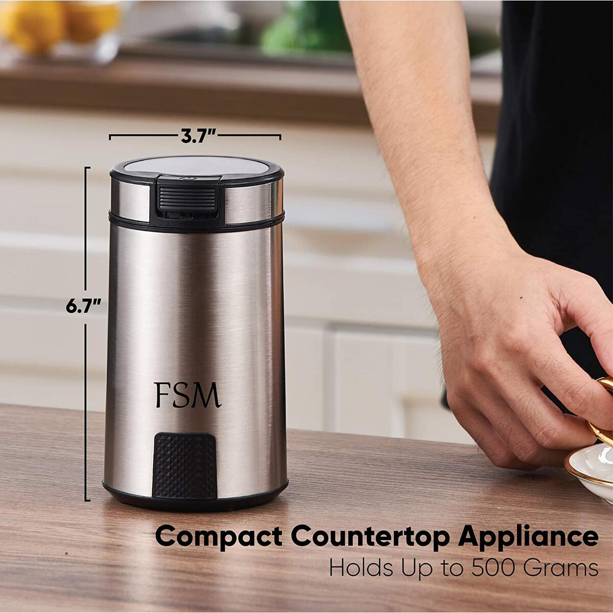 FSM Electric Coffee Grinder and Spice Mill with Safety Lock System – Rustproof Stainless Steel with Transparent Lid and Gripping Base – Grind Whole Beans, Seeds, Nuts and Herbs (17.6 oz Capacity)