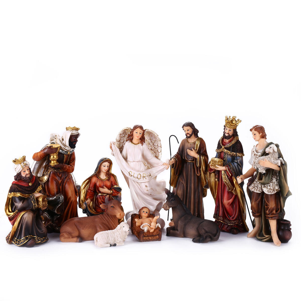 Nativity Set 8.5 inch Resin Stone 11 Figurines, Catholic Gift Holy Family Christmas Decoration Nativity Scene