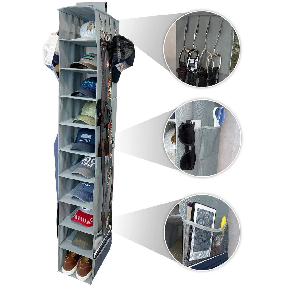 THE ULTIMATE HAT RACK 10 Shelf Hanging Closet Hat Organizer for Hat & Shoe Storage - Keep Your Caps and Baseball Hats in Great Condition - Hat Holder & Baseball Cap Organizer w/Tie & Belt Side Hooks (GRAY VERSION)