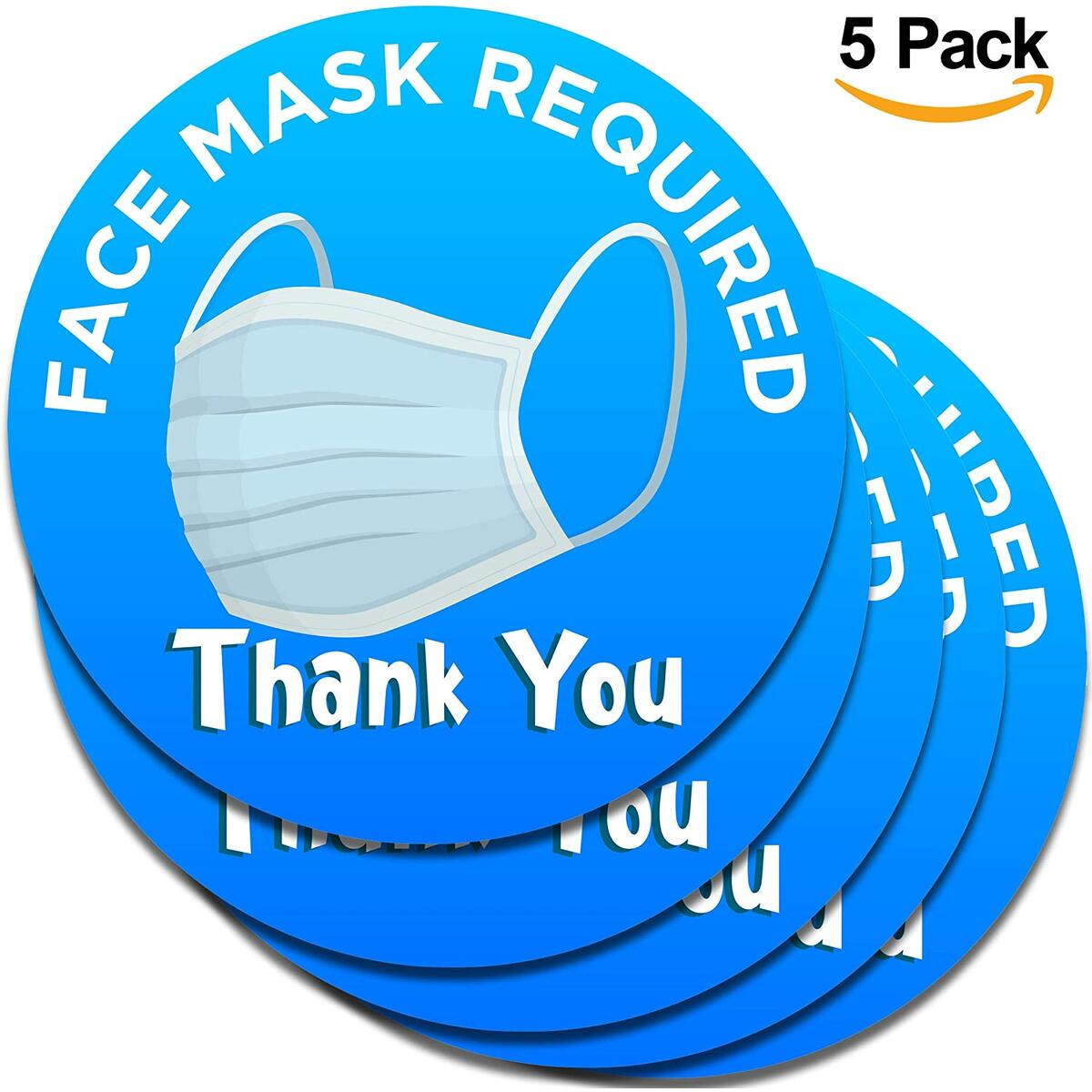 Face Mask Required Sign For Your Business - 5 Pack - Thick, Durable, Peel and Stick Vinyl 8