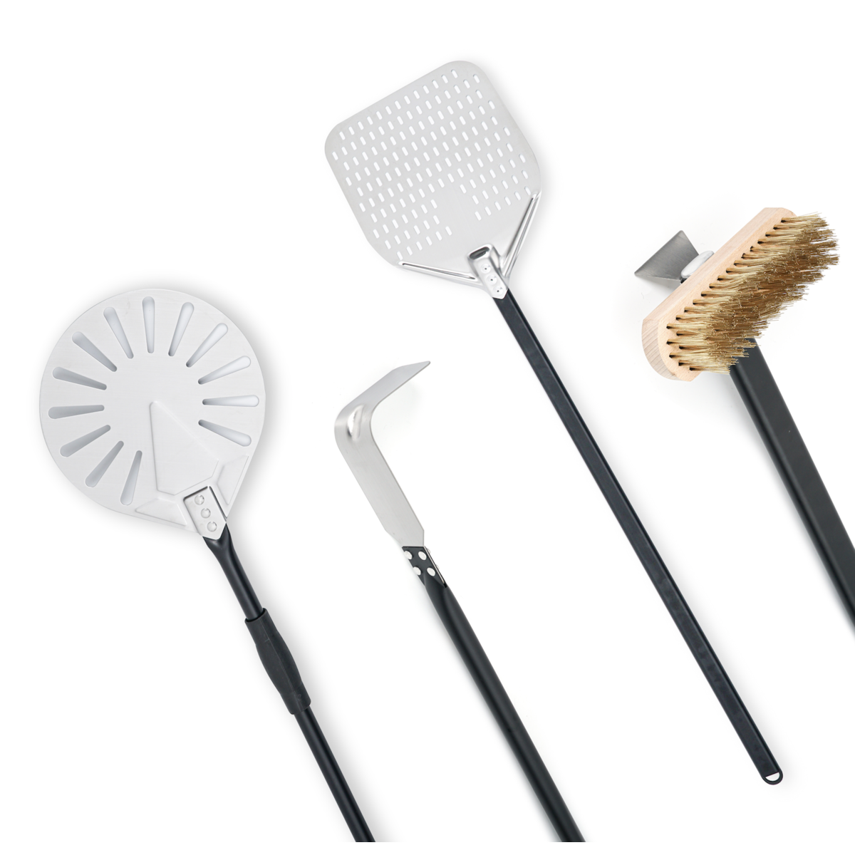 4 Piece professional aluminum handled wood fired pizza oven utensil Kit