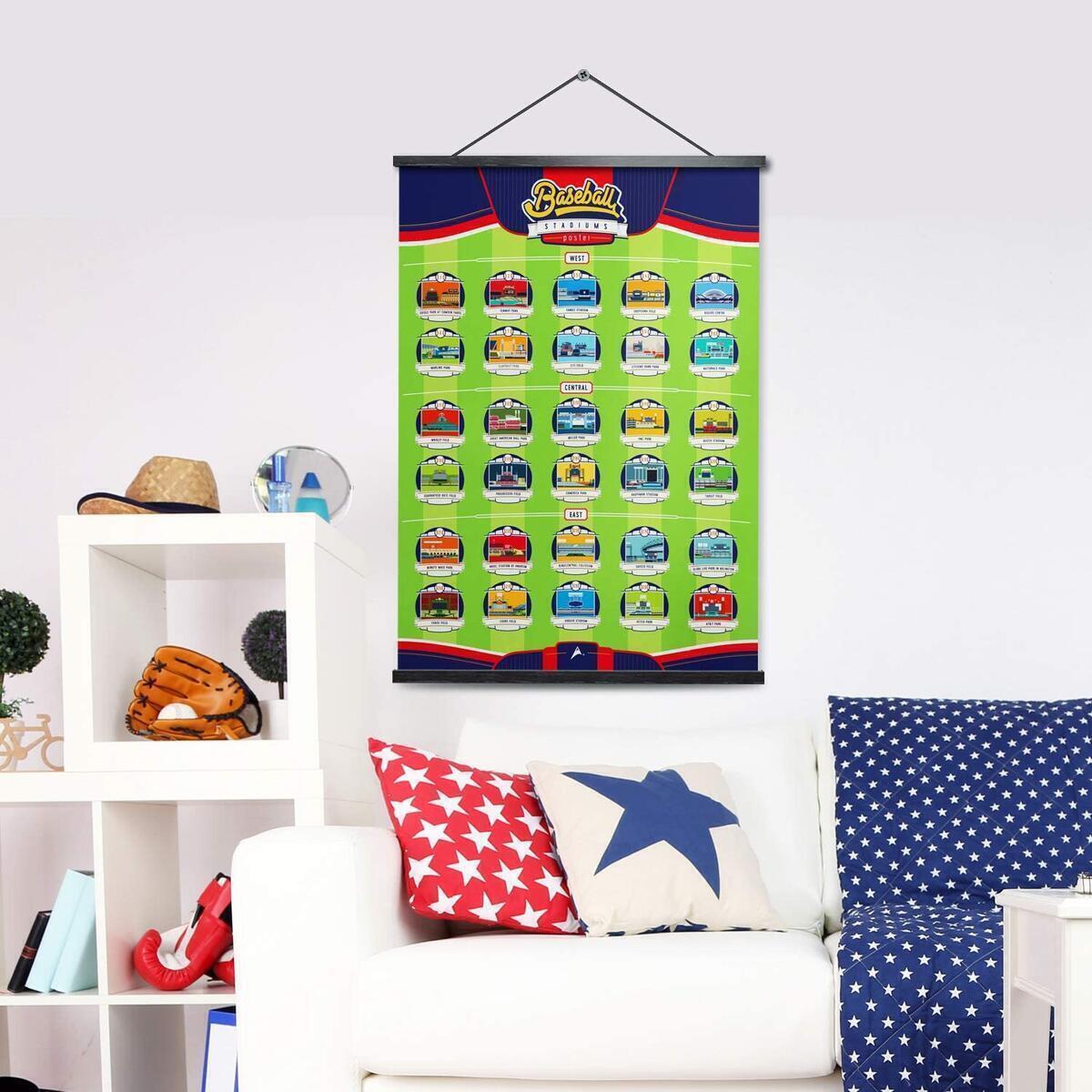 Major League Ballpark Scratch-Off Poster, Baseball Stadium Wall Decor Map + 30 ballpack info cards