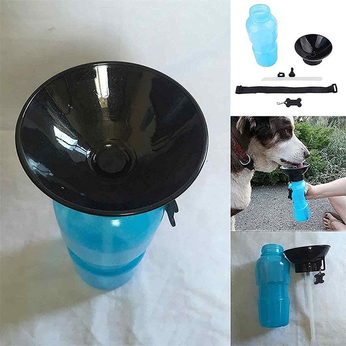 JHR Products Auto Dog Mug Squeeze Water Bottle. Easy Dispensing Pet Travel Mug. Pet Hiking Water Bottle No Mess Fresh Drinking Water Dispensing