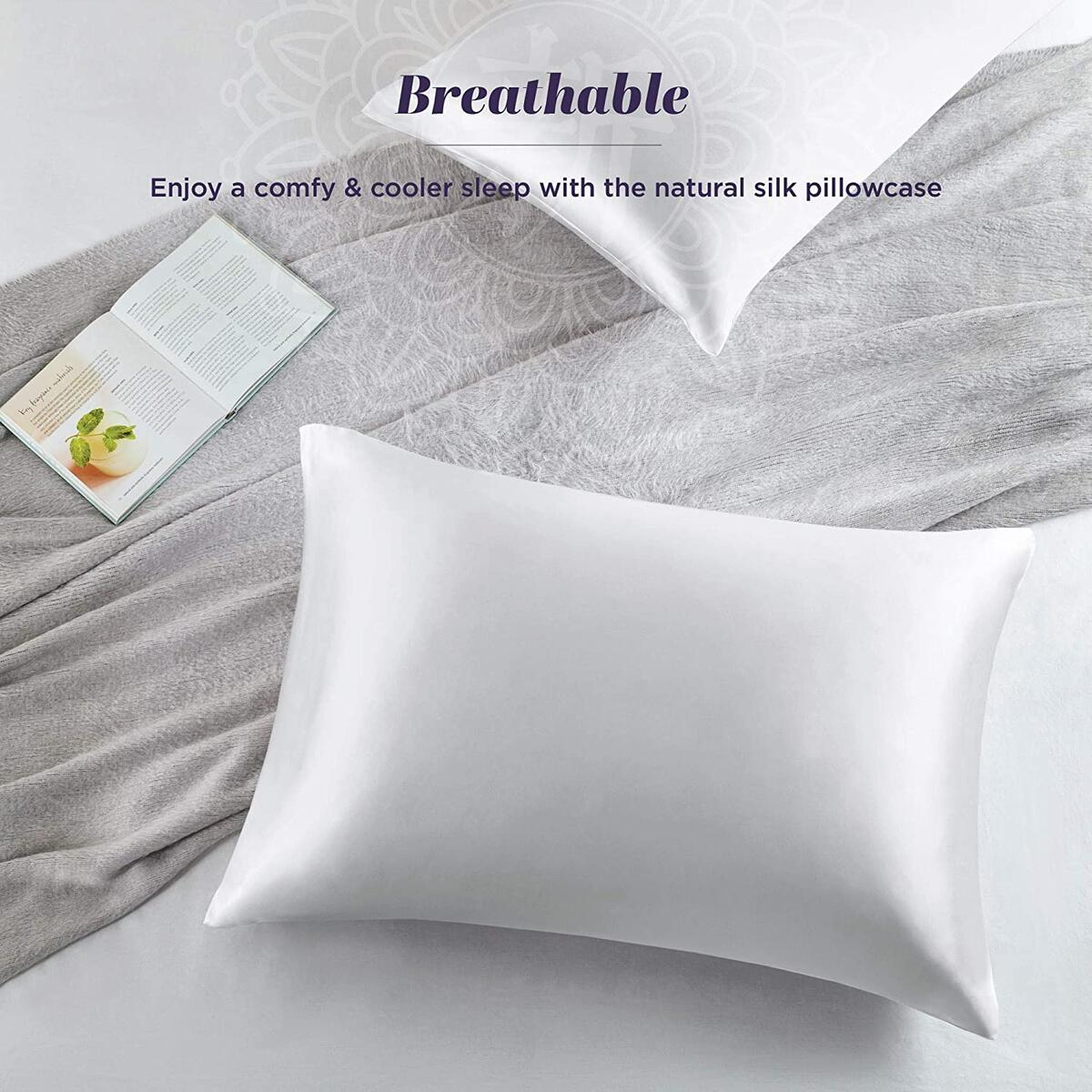 100% Pure Mulberry Silk Pillowcase for Hair and Skin | Premium 25mm Silk Pillowcase, Hypoallergenic Antibacterial with Hidden Zipper -1 Pack (Queen 20x30 Natural White)