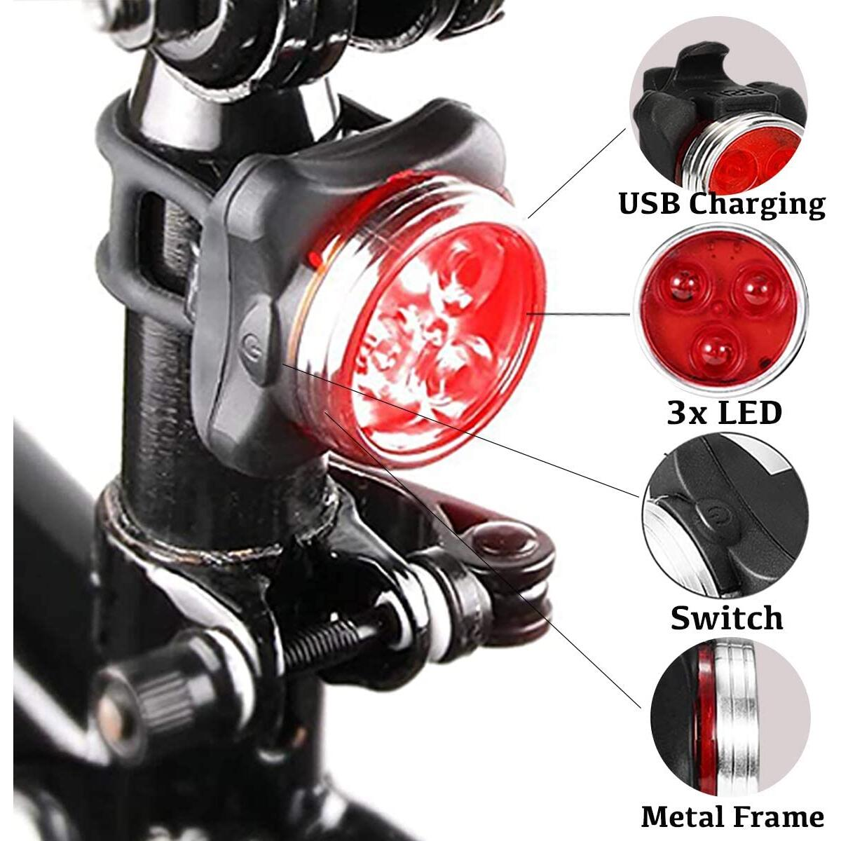 APREMONT Compact Bike Headlight and Tail Light Set - USB Led Rechargeable Bike Lights Front and Back - Super Bright Bike Light - Safety Cycling Light - for Road, Mountain Cycling, Skateboard, Helmet
