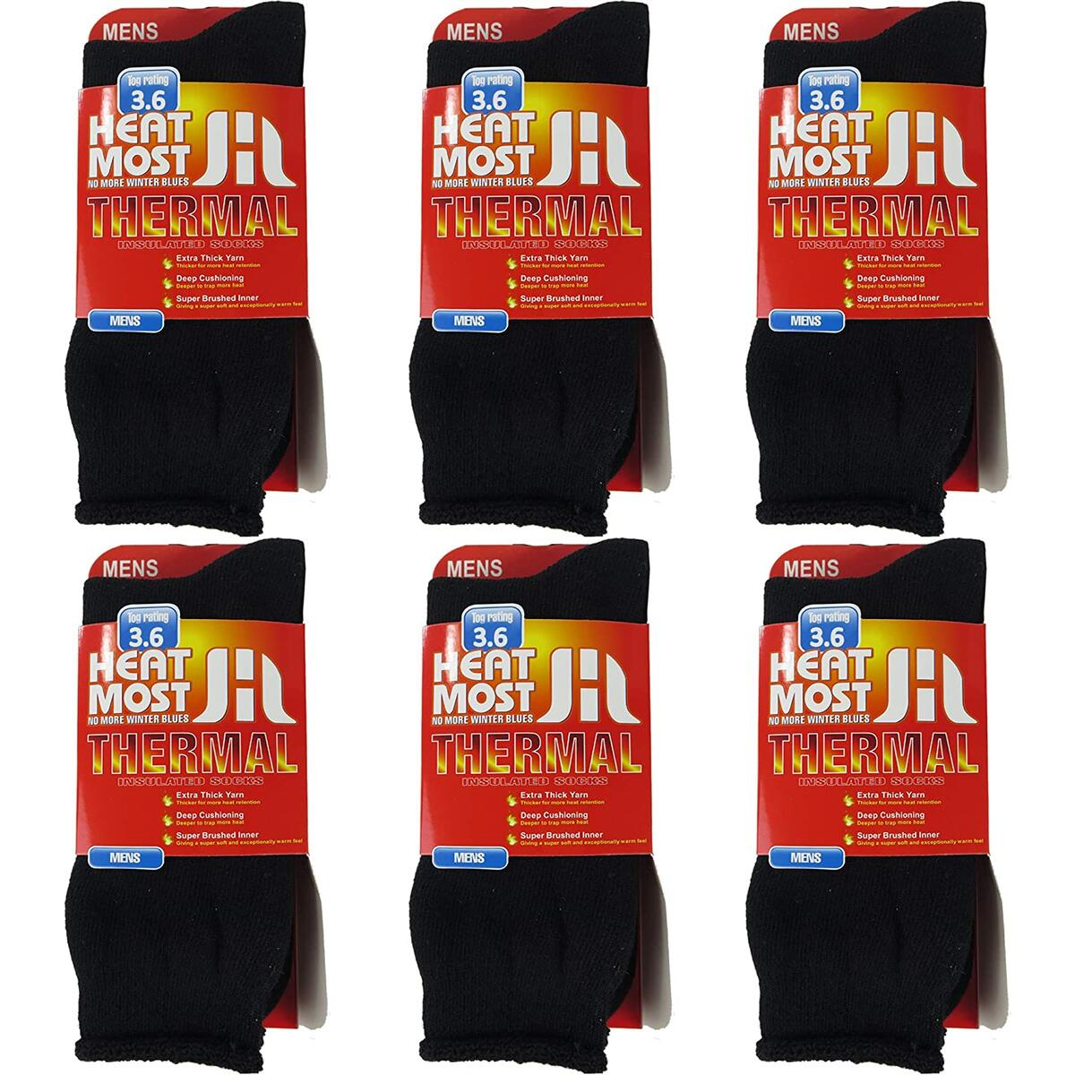 Debra Weitzner Thermal Socks For Men and Women Heated Winter Socks Insulated for Cold Weathers 6 Pack  black