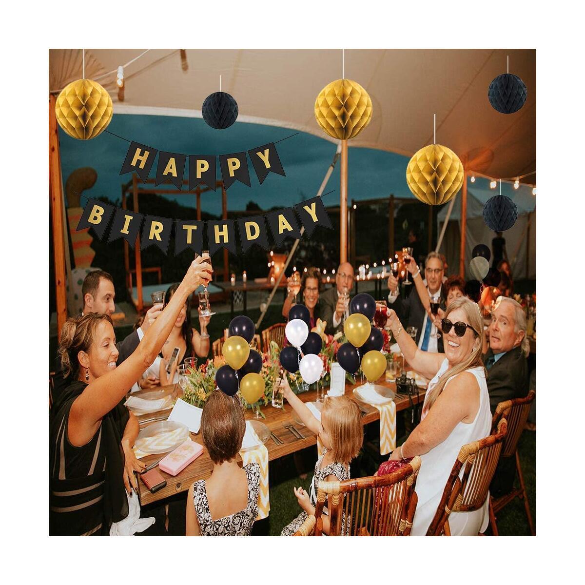 BOSCORD Birthday Decorations, Black and Gold Birthday Surprises for Men,Women, Elderly, Retired and Graduation, Black Happy Birthday Banners,Birthday Balloons, for 30th 40th 50th 60th 70th Birthday