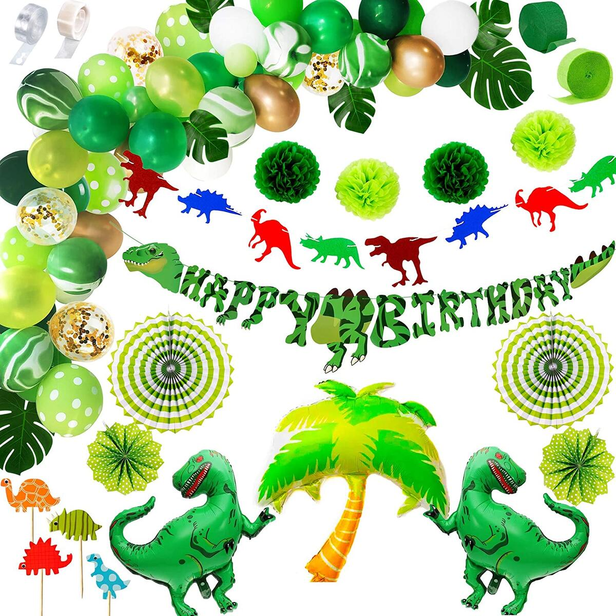 125 Pcs Dinosaur Birthday Party Supplies   Premium Mega Decorations Set Boys Girls   Balloon Arch Garland Kit, Happy Banner, TRex Palm Tree Inflatable Balloons   Dino Jungle Animal Jurassic Theme