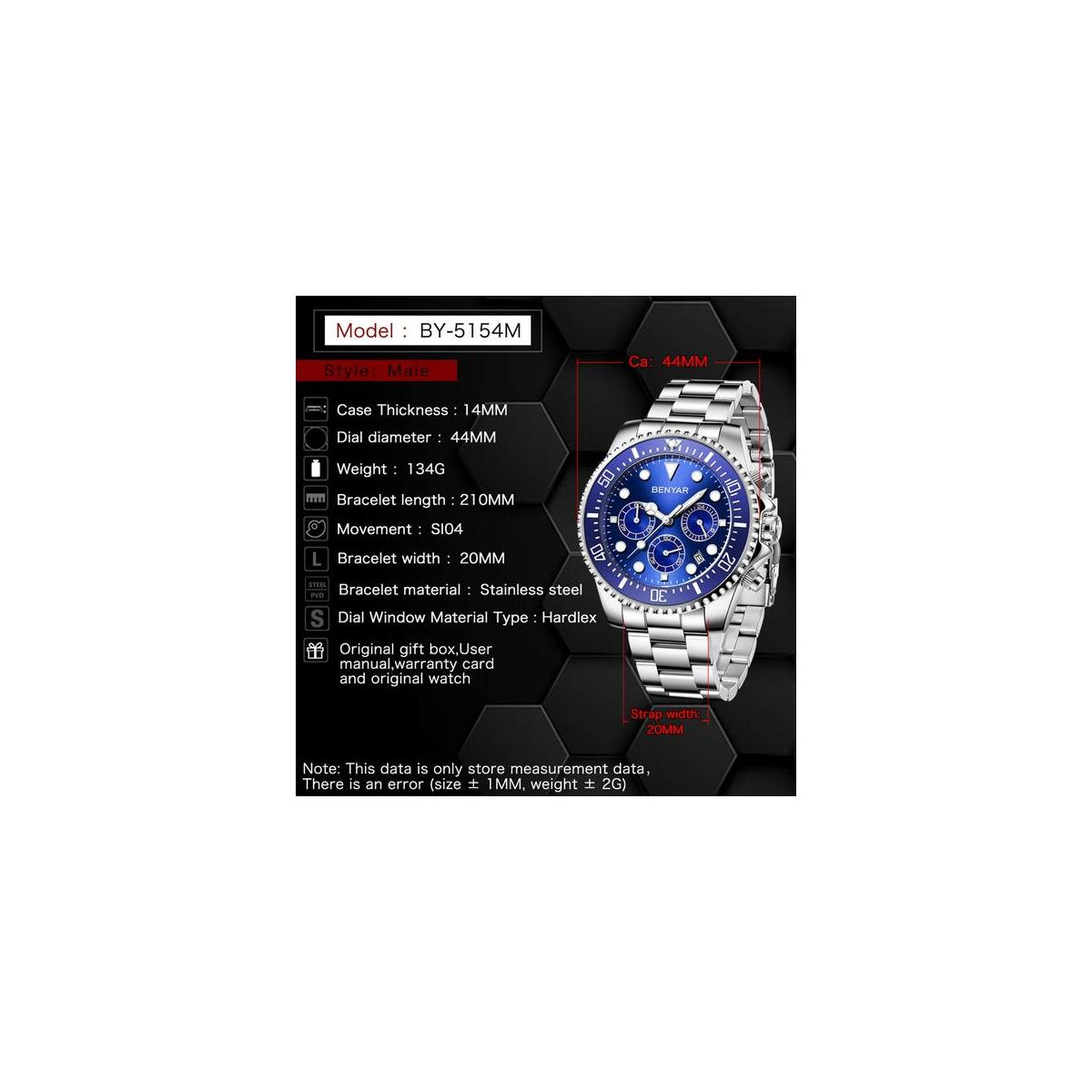 BENYAR Watches for Men - Luxury Business Chronograph - Luminous Waterproof Date Stainless Steel Quartz Men's Watch(blue)