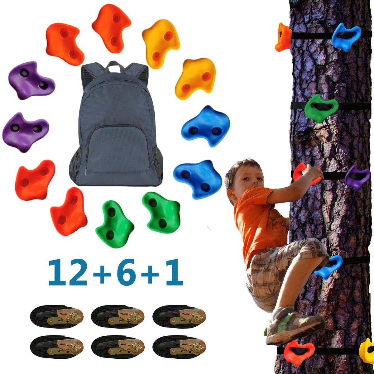 12 Ninja Tree Climbing Holds and 6 Ratchet Straps, for Outdoor Climber Ninja Warrior Obstacle Training; Backyard Rocks Climbing Playground Equipment for Kids and Adults