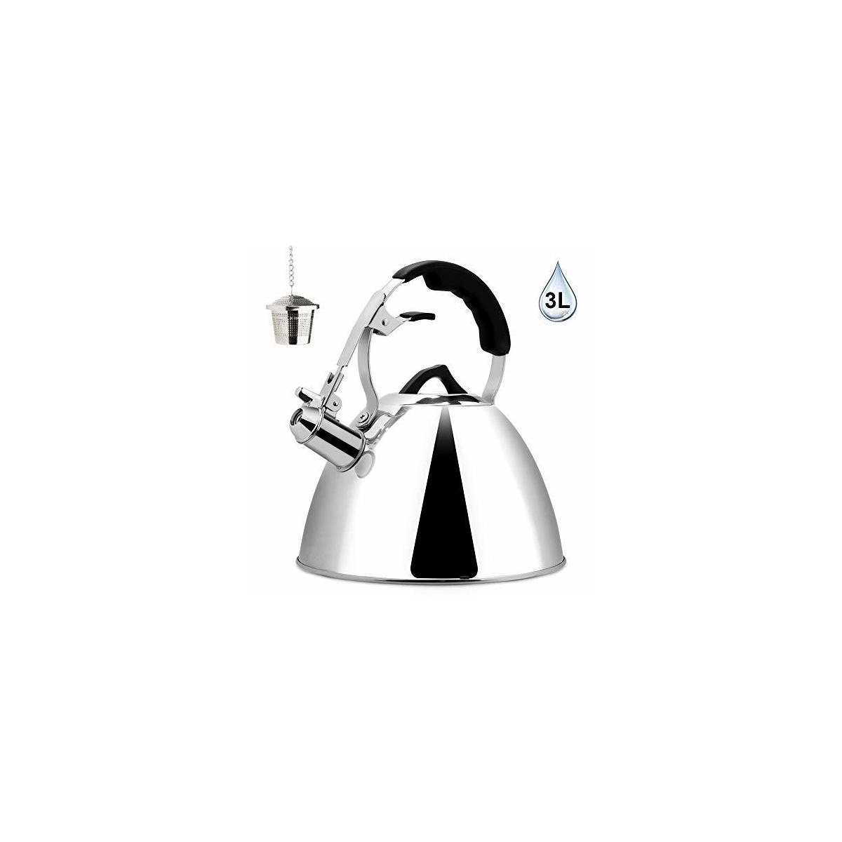 Secura Tea Kettle 3.2 Quart Tea Pot, Stainless Steel Hot Water Kettle Whistling with Mirror Finish, Silicone Handle, Impact-bonded Technology, Tea Infuser for Stovetops