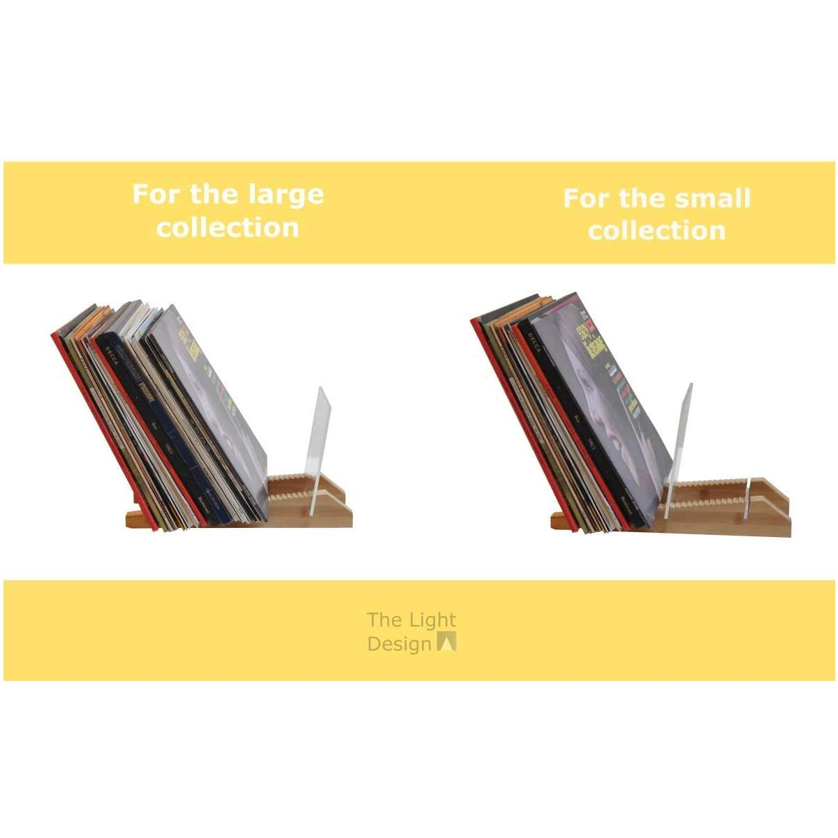 The Light Design Vinyl Records Storage, Adaptable Record Rack for small and large collections, it is perfect as a Record Organizer and Lp Storage for up to 50 albums