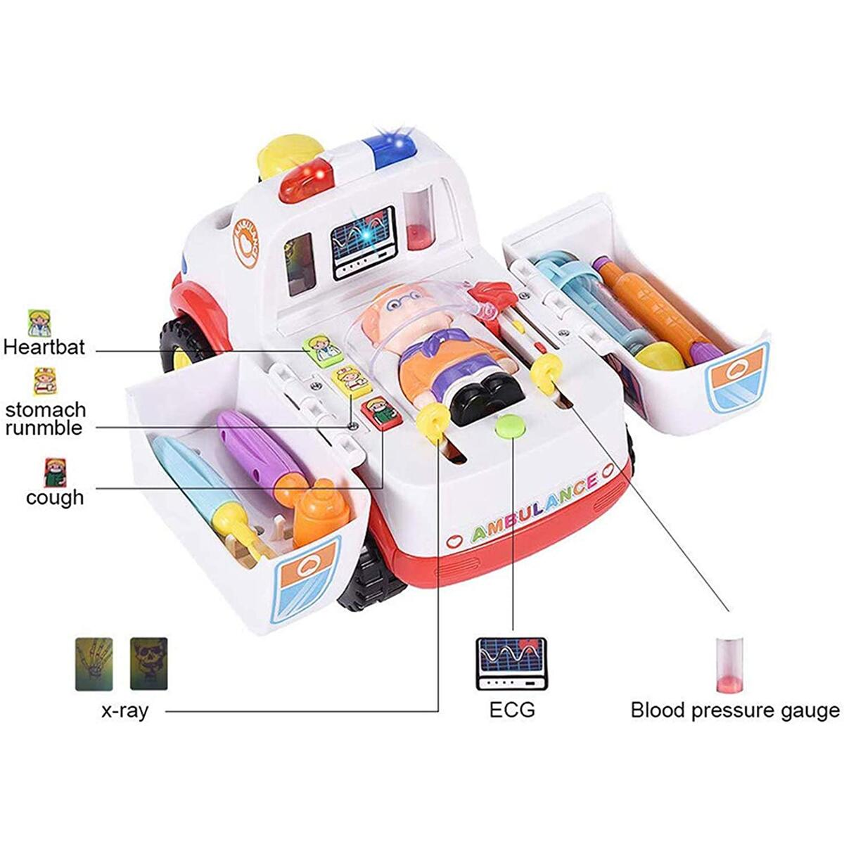 HANMUN Ambulance Toy Medical Kits Kids - 2020 Medical Play Kit Ambulance Toy with Lights and Sound Toddlers Euipment Rescue Vehicle Bump & Go