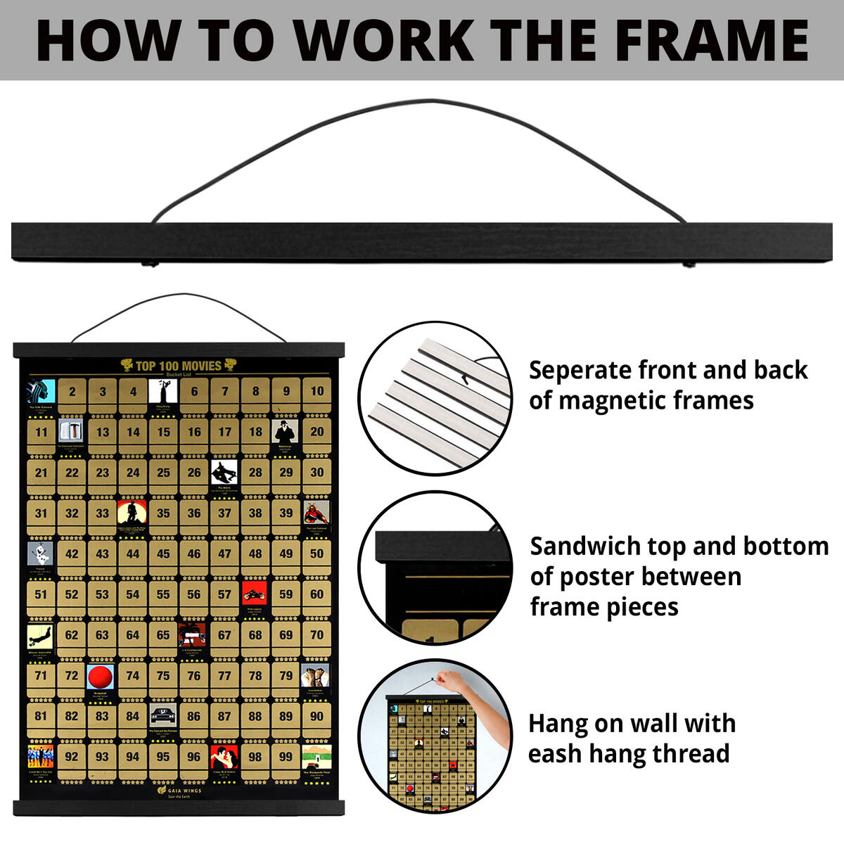 100 Movies Scratch Off Poster with Hanging Frame 17