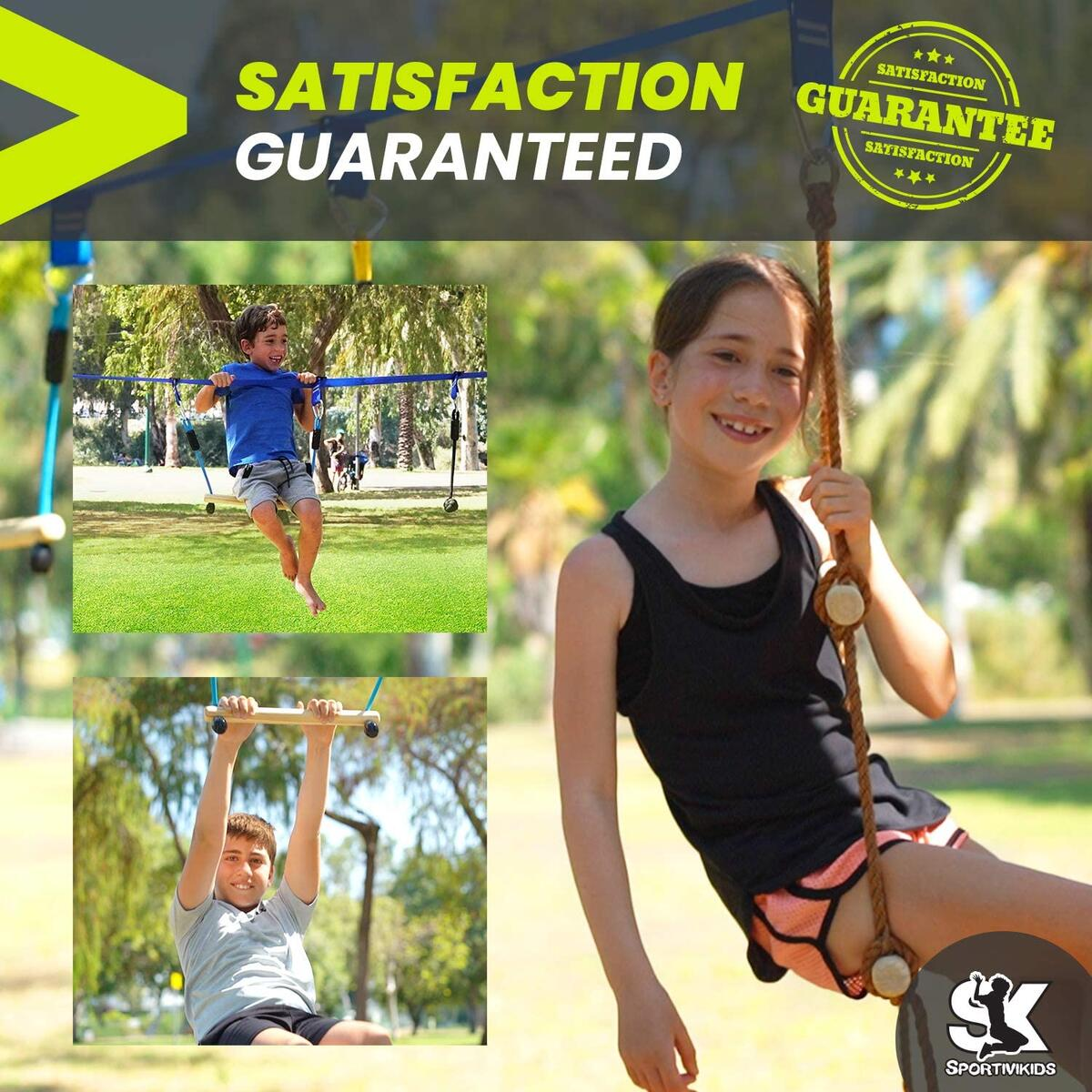 SPORTIVIKIDS Ninja Warrior Obstacle Course for Kids - 50ft Ninja Slackline with Bonus Eva Swing Set, Fun Outdoor Playsets for Backyard, 8 Obstacles with Adjustable Buckles, Capacity 300lbs