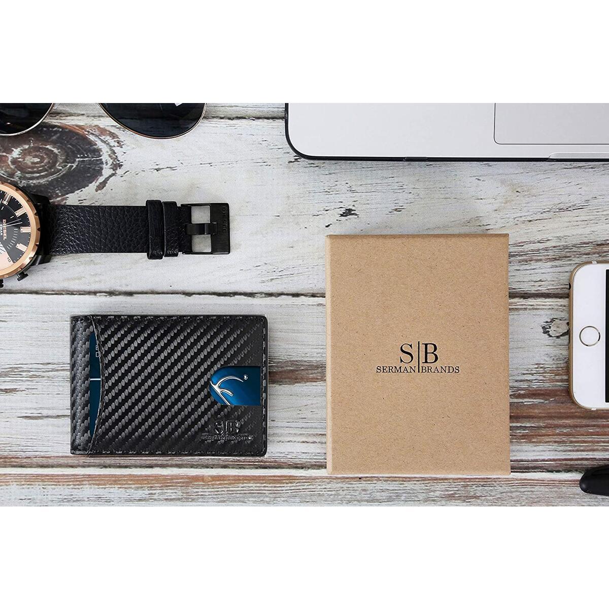 SERMAN BRANDS RFID Blocking Slim Bifold Genuine Leather Minimalist Front Pocket Wallets for Men with Money Clip - Modern Black 1.0