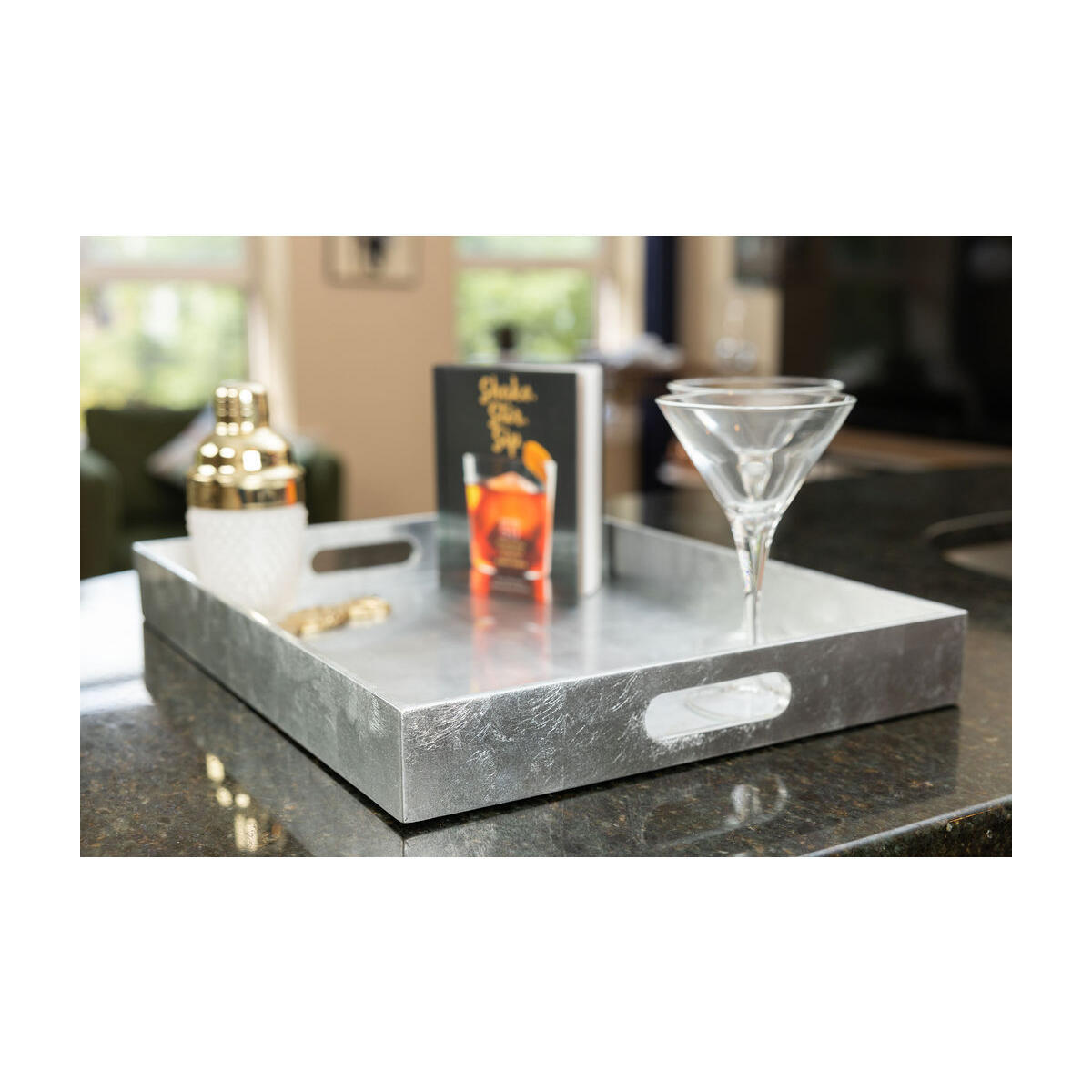 Concord Signature Decorative Tray, Coffee Table Tray - Silver, Large, Rectangular Serving Tray, 19.3x15
