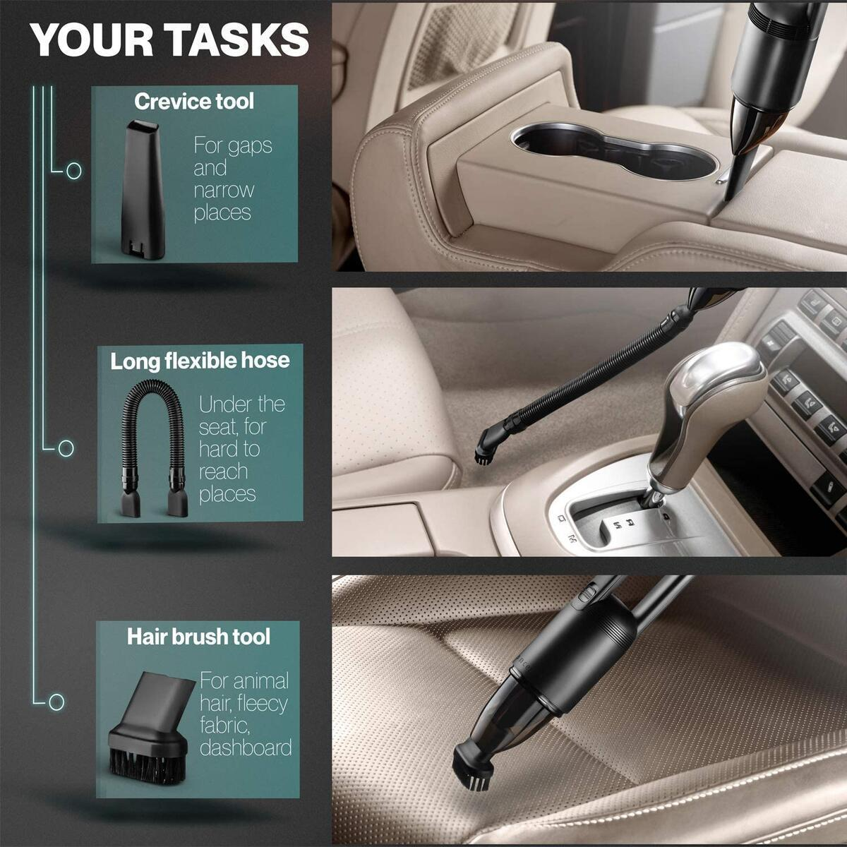 Neancer Handheld Vacuum, Handheld Car Vacuum Cleaner, Corded – Portable Mini Hand Vacuum for Cleaning Interior of Car, Truck, SUV, Van, RV – Automotive Vacuum with Powerful Suction Plugs