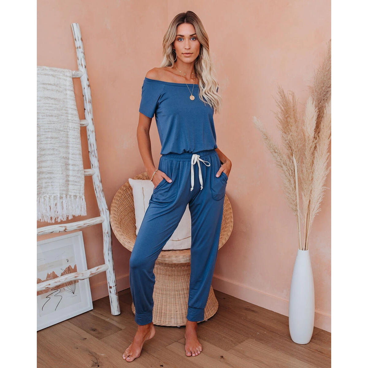 Women's Loose Fit Off Shoulder Elastic Waist Beam Foot Jumpsuit Rompers with Pockets Blue