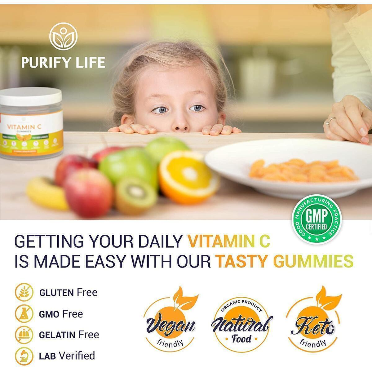 Vitamin C Gummies for Kids & Adults (Bulk - 90 Gummies) 250mg Immune System Support [Double Strength] in Chewable Orange Slices - Vegan Pectin Based, No Gelatin, Citrus Immunity Booster Supplement For Cold Cough & Allergy Relief