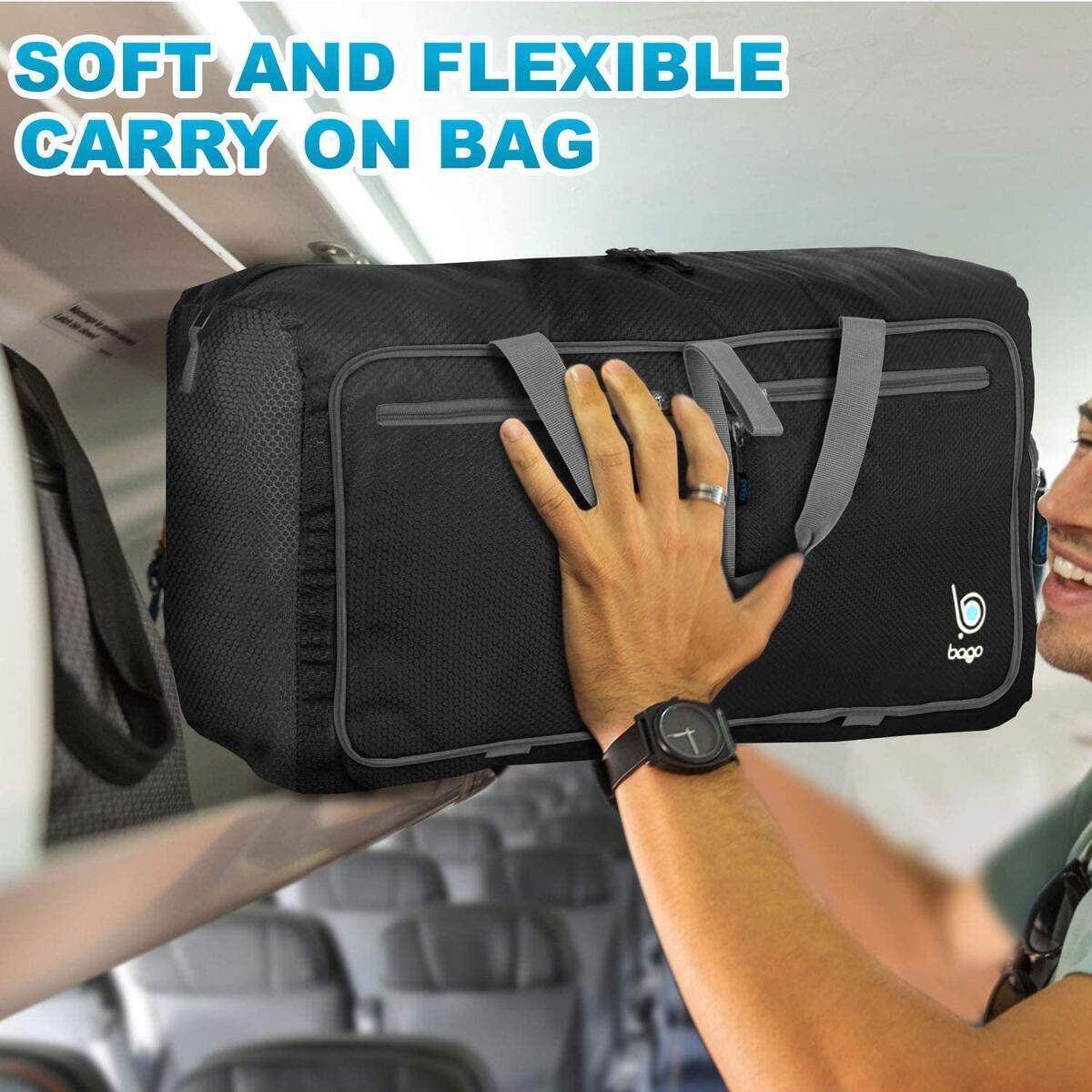 Bago Travel Duffel Bags for Men & Women - Lightweight Folding Duffle Bag Luggage - 80L Black