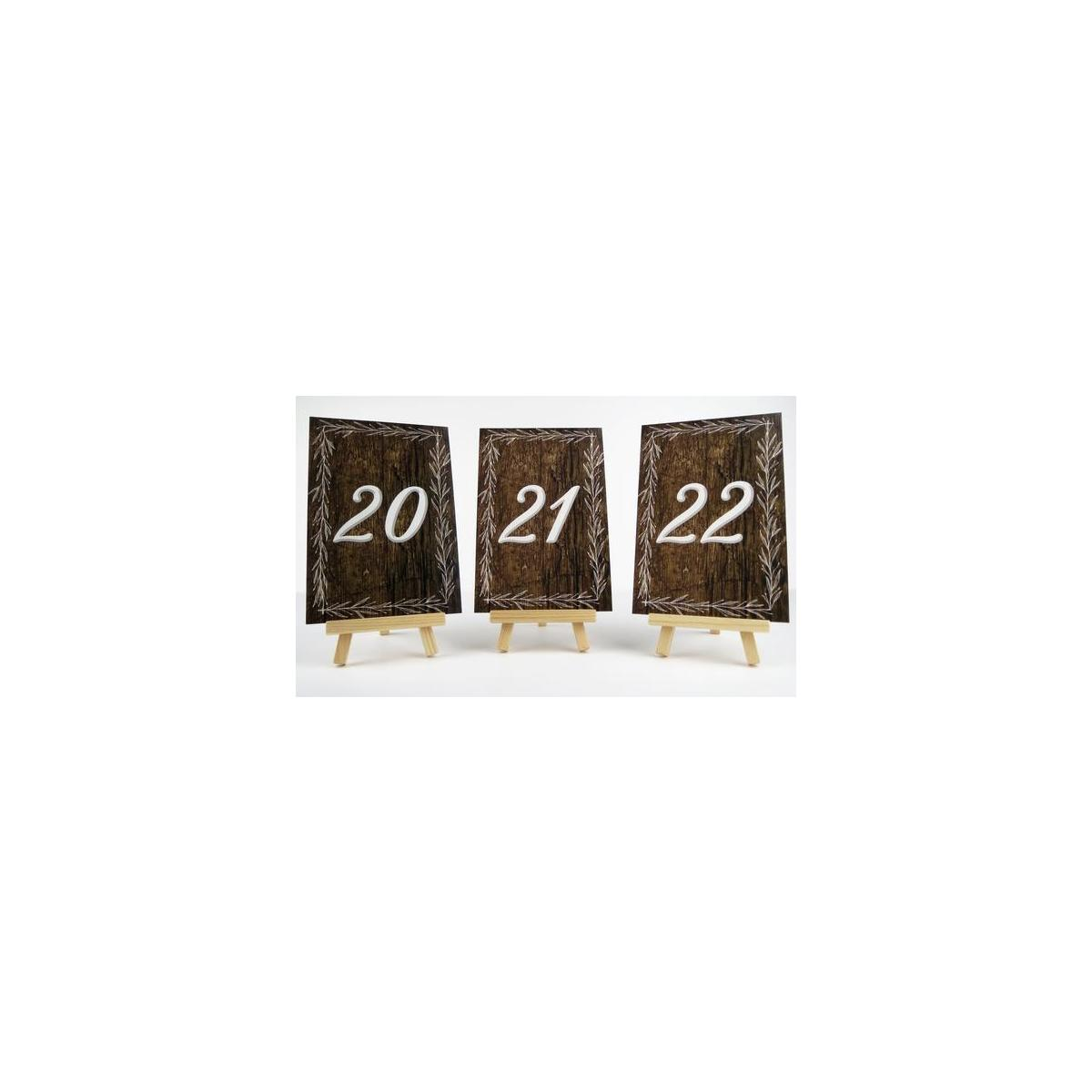 Rustic Double Sided Table Numbers 4 x 6 inches | 1-25 | Perfect for Weddings, Christmas, Showers, and Parties (Brown & White)