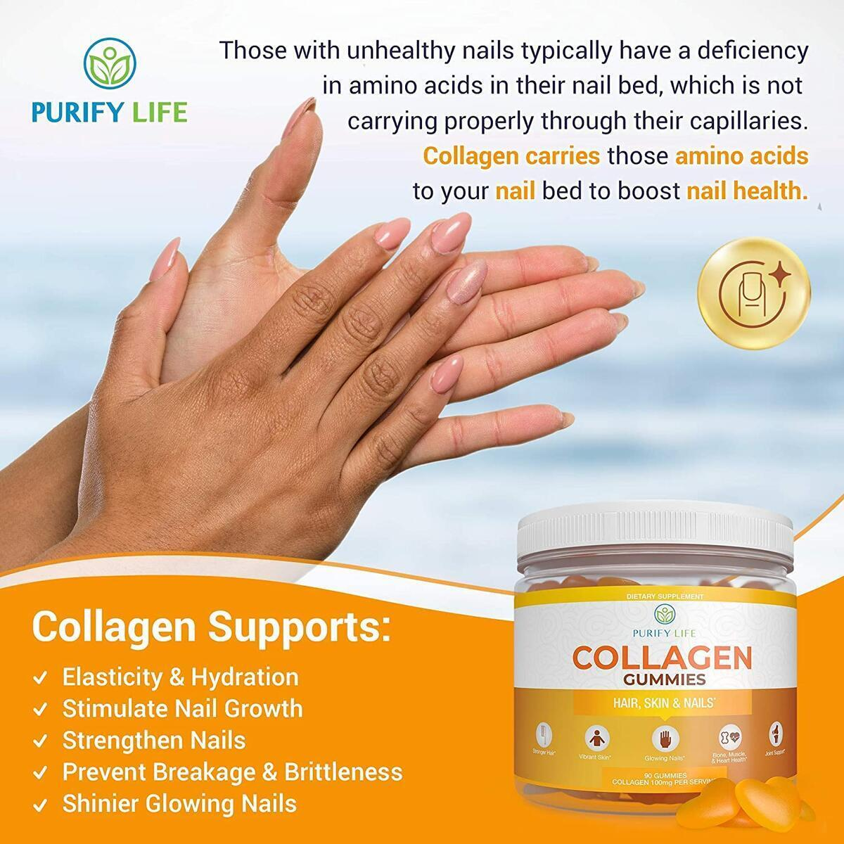 Collagen Gummies for Men and Women's Hair, Skin, and Nails (Bulk - 90 Gummies) Joint Care Vitamin for Anti-Aging and Pore Reducer - Hydrolyzed Non Gelatin Non-GMO All Natural Supplement