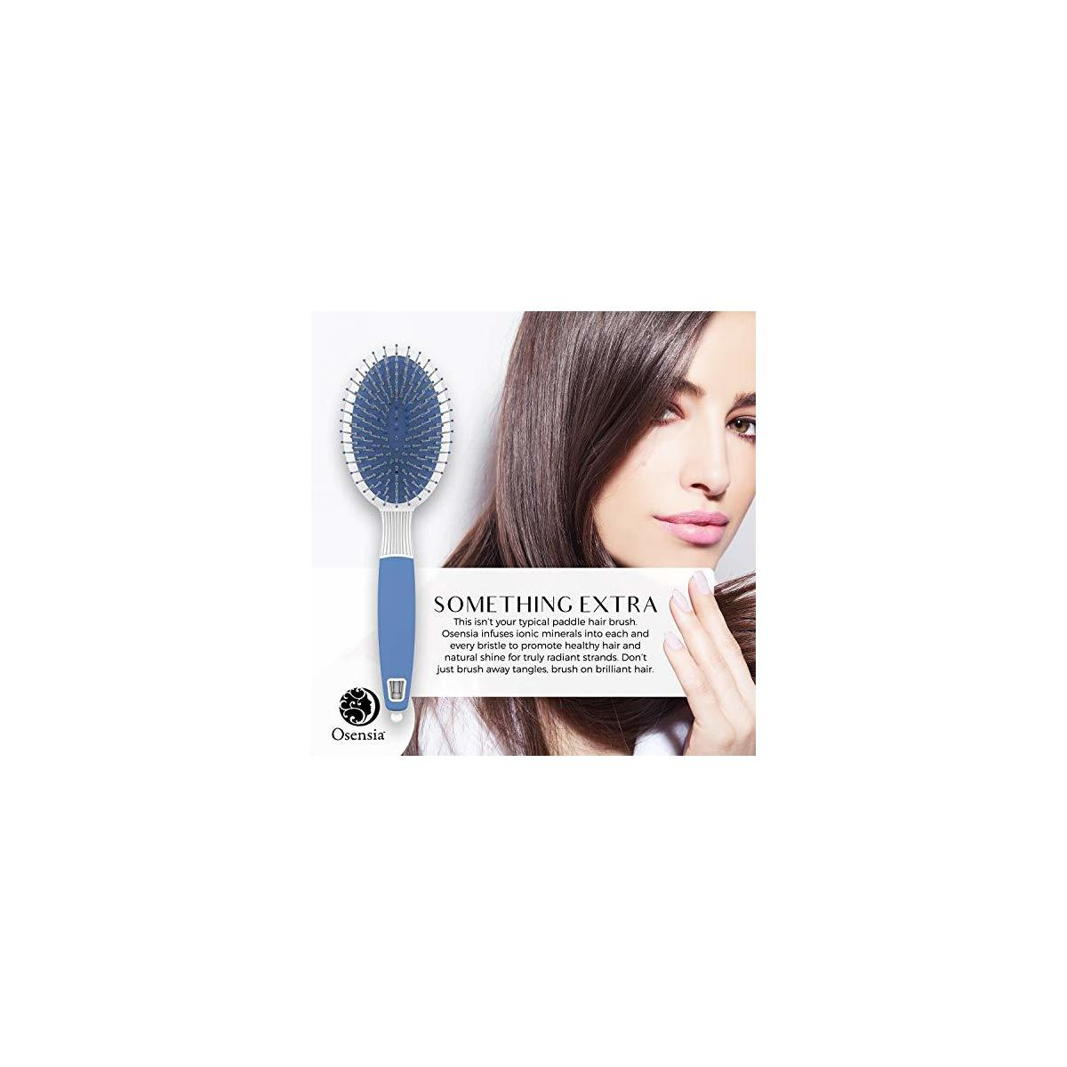 Oval Paddle Hair Brush - Gentle Detangler Brush for Thick Hair with Ionic Mineral Nylon Bristles - Antistatic Detangling Brush for Blow-Drying and Straightening Curly Hair by Osensia