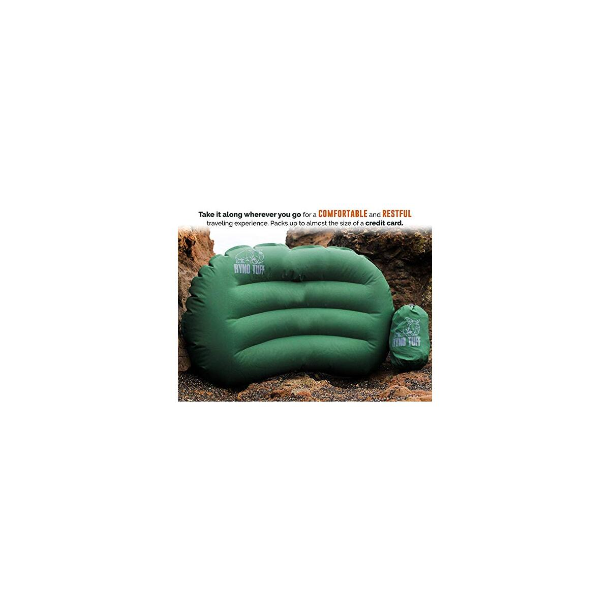 Ryno Tuff Inflatable Camping Pillow - Ultralight Travel Pillow with Knitted Fabric Perfect Pillow for Backpacking, Hiking Or Traveling